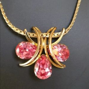 Vintage Jewelry - Pink Rhinestone Crescent Moon Necklace Pendant